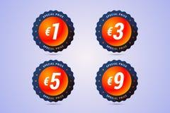 Le prix spécial badges avec l'euro signe pour des offres spéciales et des ventes Photos libres de droits