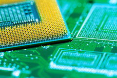 Le processeur sur la carte avec les contacts plaqués or se ferment  Vue inférieure du côté de goupilles photo libre de droits