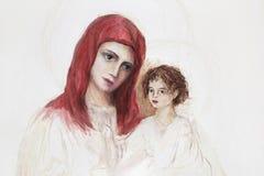 Le processus de faire une peinture - Madonna et enfant Photo stock