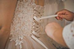 Le processus de lacer la robe de mariage de jeunes mariées 1196 Photographie stock libre de droits