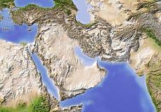 Le Proche Orient. Carte d'allégement ombragée. Photo stock