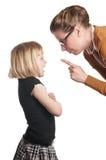 Le professeur parle l'enfant fâché Photographie stock libre de droits