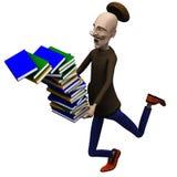 Le professeur relâche hors fonction un paquet de livres Image libre de droits