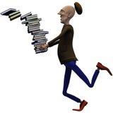 Le professeur relâche hors fonction un paquet de livres Images libres de droits