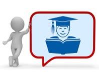 Le professeur Speech Bubble Represents donnent les leçons et le rendu de la communication 3d Photos stock