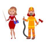 Le professioni differenti dell'insegnante e del pompiere della gente vector l'illustrazione Fotografie Stock