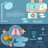 Le professionnel d'examen médical soigne des bannières d'hôpital Images stock