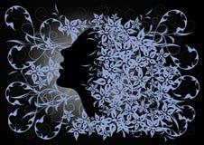 Le profil de la fille sur le fond floral Illustration de Vecteur