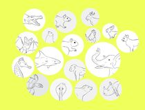 Le profil sauvages et de ferme d'animaux décrit l'illustration de vecteur illustration libre de droits