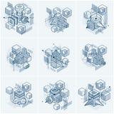 Le progettazioni astratte con le forme e le figure lineari della maglia 3d, vector gli ambiti di provenienza isometrici Cubi, esa illustrazione vettoriale