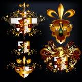 Le progettazioni d'annata eleganti hanno messo per il logos di lusso, il ristorante, menu, Immagini Stock Libere da Diritti