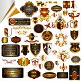 Le progettazioni d'annata eleganti hanno messo per le etichette di lusso, il logos, ristorante Fotografia Stock