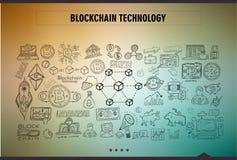 Le progettazioni disegnate a mano di scarabocchio di concetto di Cryptocurrency gradiscono: blockchai Fotografie Stock