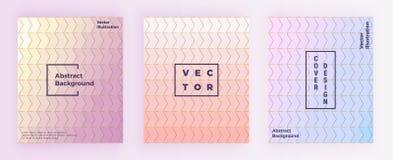 Le progettazioni geometriche astratte stabilite con oro allinea, rosa pastello, il blu, fondo di colori di porpora Modello per l' royalty illustrazione gratis