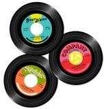 Le progettazioni record dell'etichetta dell'annata 45 hanno messo 1 Fotografia Stock