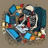 Le programmeur squelettique dans la réalité virtuelle Photos stock