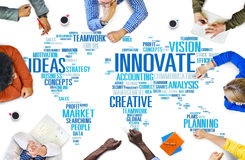 Le progrès d'idées de créativité d'inspiration d'innovation innovent Concep Photos libres de droits