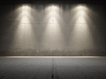 Le projecteur illuminent le béton sale