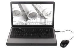 Le projet architectural sur Lap Top Computer a isolé Photos libres de droits