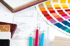Le projet intérieur avec la palette, échantillons matériels, crayonne 2 Photographie stock libre de droits
