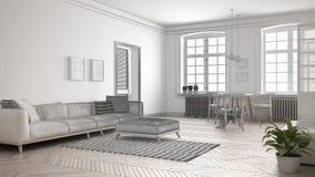 Le projet non fini du salon minimaliste, esquissent le résumé dedans Photographie stock
