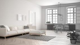 Le projet non fini du salon minimaliste, esquissent le résumé dedans Image libre de droits