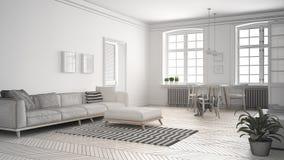Le projet non fini du salon minimaliste, esquissent le résumé dedans Image stock