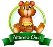 Le propre label d'une nature avec un ours illustration de vecteur