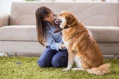 Le propriétaire heureux de chien de femme à la maison avec le golden retriever Photographie stock