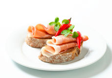 Le Prosciutto ouvert a fait face à des sandwichs Image libre de droits