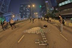 Le proteste di Hong Kong dentro occupano la centrale, Hong Kong Fotografia Stock