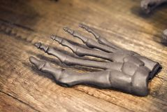 Le prototype gris du squelette de pied humain a imprimé sur l'imprimante 3d sur la surface foncée Images stock