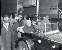 Le Président Franklin D Roosevelt arrive dans NYC Photos stock