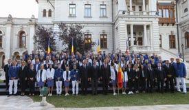 Le Président Klaus Iohannis souhaite la bienvenue à l'équipe de Qlympic de Roumain Photos libres de droits
