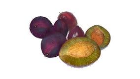 Le prugne, una hanno tagliato a metà, frutta su fondo bianco Fotografia Stock