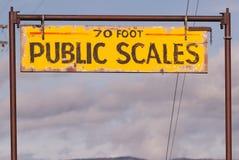 Le public mesure la tempête de clairière de région d'agriculture de vintage de signe Photos stock