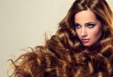 Le puits les cheveux de la femme s'est inquiété, dense et fort photo libre de droits