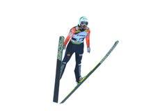 Le pullover de ski inconnu concurrence dans le FIS Ski Jumping World Cup Ladies le 1er mars Images stock