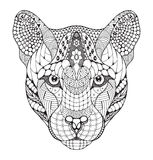 Le puma, puma, puma, zentangle principal de panthère a stylisé, le VE Photographie stock libre de droits