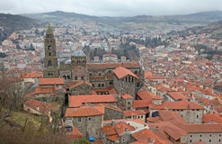 Le Puy en Velay aerial view, France Royalty Free Stock Photography