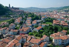 Le Puy en Velay, France. Cathedral of Notre-Dame du Puy and roofs town Le Puy en Velay, France Royalty Free Stock Photo