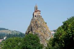 Le Puy en Velay, France. Chapelle Saint Michel de Aiguilhe in town Le Puy en Velay, France Stock Photography