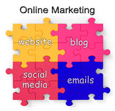 Le puzzle de marketing en ligne montre des sites Web et des blogs Images stock