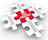 Le puzzle de stratégie de sortie rapièce la clause de plan de sortie de mots Image stock