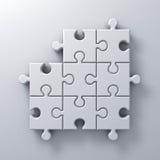 Le puzzle denteux blanc rapièce un concept absent sur le fond blanc de mur avec l'ombre 3D rendent Image libre de droits