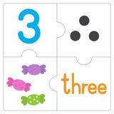 Le puzzle denteux number-3 Image stock