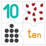 Le puzzle denteux number-10 Images libres de droits