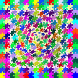 Le puzzle multicolore rapièce la chute de la torsion en profondeur Images stock