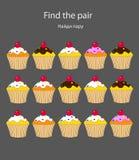 Le puzzle visuel de logique pour des enfants trouvent le même gâteau pour trouver les paires images libres de droits