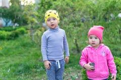 Le pysen som spelar med systern Aktiva fritid och sportar för ungar Stående av lyckliga små ungar på gatan Roligt snitt Arkivbild
